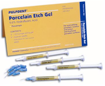 Pulpdent Porcelein etch gel kit. 9,6% hydrof